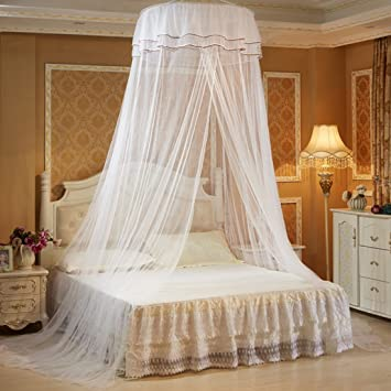 PeleusTech Hanging Mosquito Net Princess Bed Canopy Netting with Elegant Lace Dome - White & Amazon.com: PeleusTech Hanging Mosquito Net Princess Bed Canopy ...