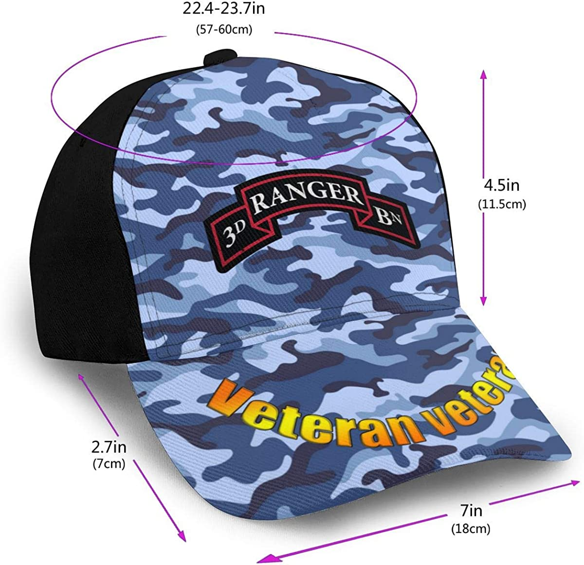 US Army Retro 3rd Ranger Battalion Classic Adult Hop Printing Duck Tongue Baseball Hat Snapback Unisex Cap Adjustable