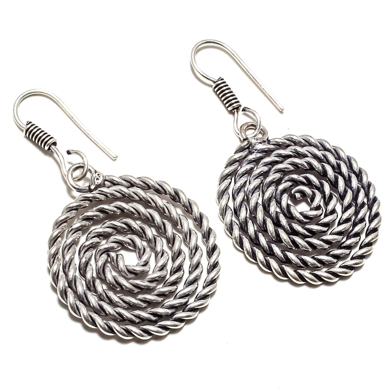 SF-2367 Stunning Round Loop Charms Earring Vintage Style Handmade 925 Sterling Silver Plated Jewelry Dangle And Drop Earring
