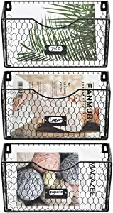 COSYAWN File Organizer Wall Mount 3 Pockets Hanging Mail Organizer Metal Chicken Wire Magazine Rack with Tag Slot, Black