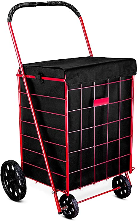 """Groceries Toys 24/"""" x 17.25/"""" x 15/"""" Water /& Mildew Resistant Black Breathable Liner for Hauling Laundry ATHome Folding Shopping Cart Liner with Closable Cover Heavy Duty Sports Equipment"""