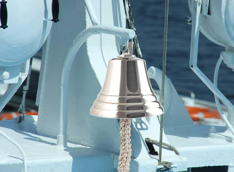 Marine en Laiton Massif 3nickel/é ARSUK Cloche de Bateau Nautique d/îner d/école d/écoration Murale r/éception Cloche Antique /à Suspendre