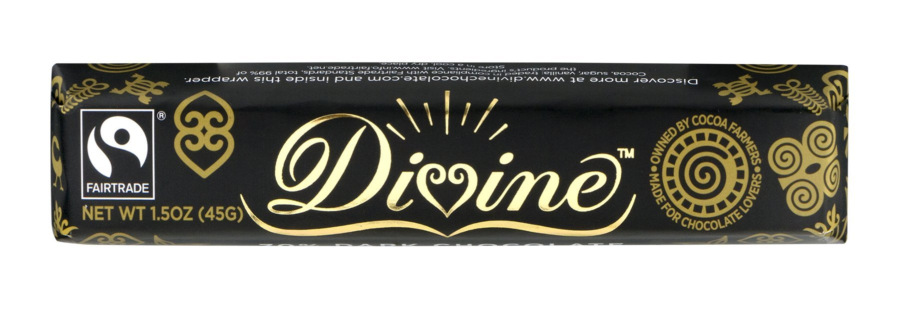 Divine Chocolate Snack Bar, 70% Dark Chocolate, 1.5 Ounce (Pack of 30)