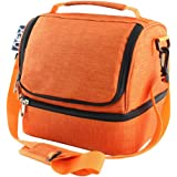 Nex Lunch Bag Double Cooler Carry Bag Insulated Tote Large Capacity with Adjustable Shoulder Strap and Zip Closure Travel Lunch Tote(Orange)