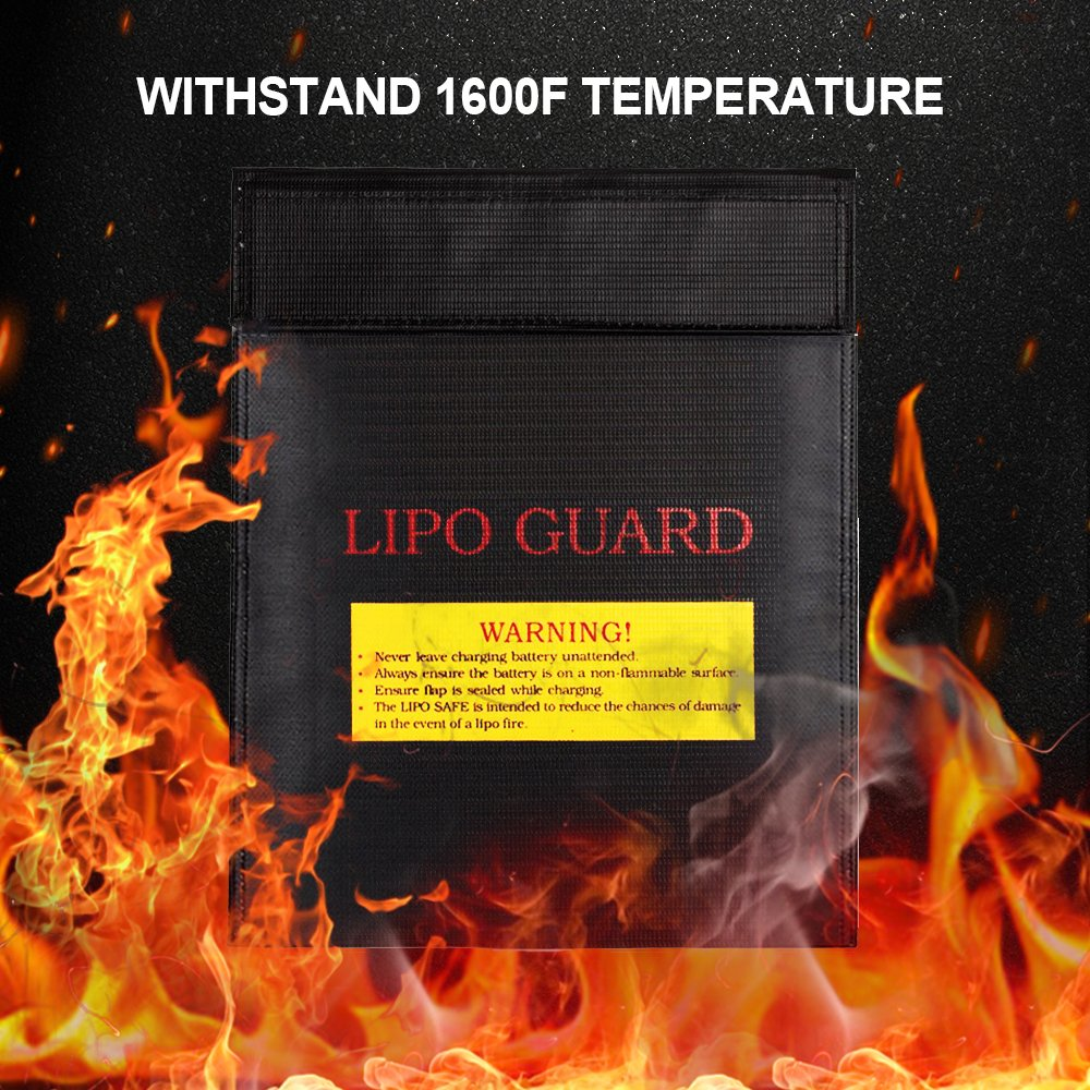 7x9 Fire Resistant Protective Bag Waterproof Storage Pouch for Batteries Cash Money Card Jewelry Papers Passport Black 2 Pack Fireproof Document Bag