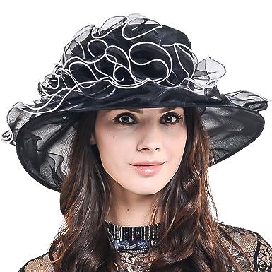 Women Organza Church Derby Wedding Dress Party Hat S020 (Black ... c944f0cc0b1b