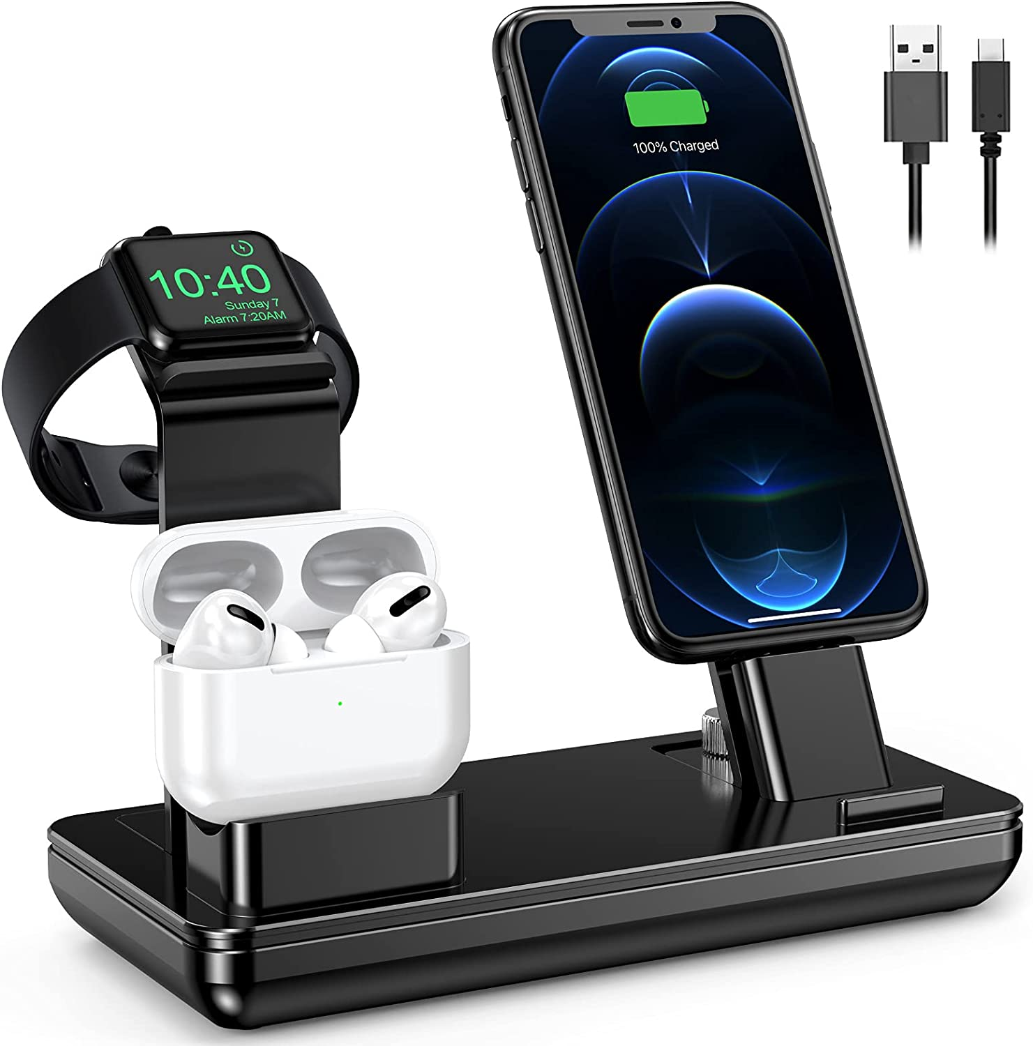 Charging Station for Apple Products, YoFeW 3 in 1 Charger Stand for Apple Watch, iWatch Series SE/6/5/4/3/2/1, Airpods Pro 2/1, iPhone 11 Series/Xs/X Max/XR/X/8/ 8P/7/7P/6S/6S Plus, Upgraded