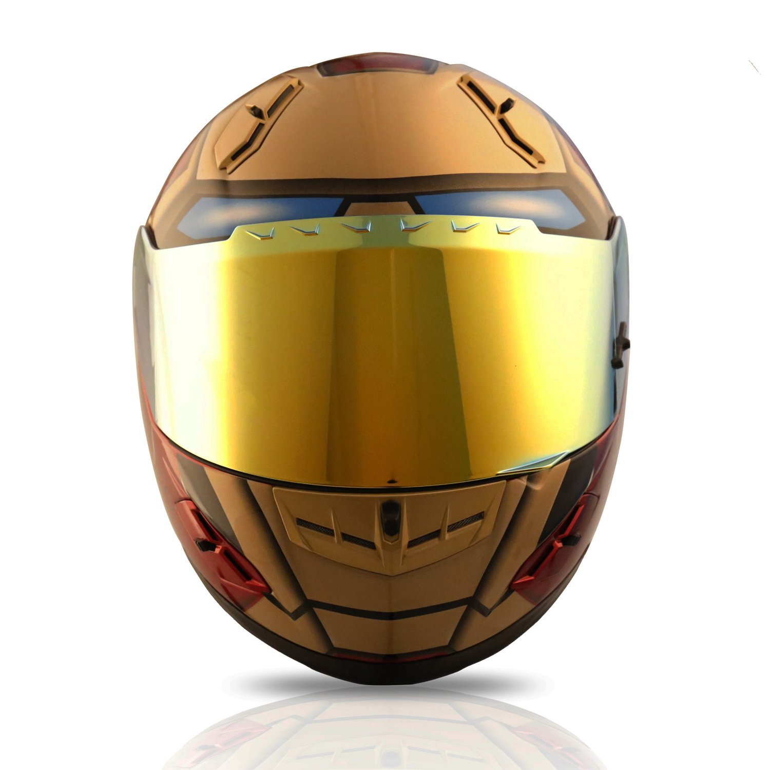 Amazon.com: NENKI NK-856 Full Face Iron Man Motorcycle Helmet For Adult and Youth Street Bike with Iridium Red Visor and Sun Shield DOT Approved (Medium, ...