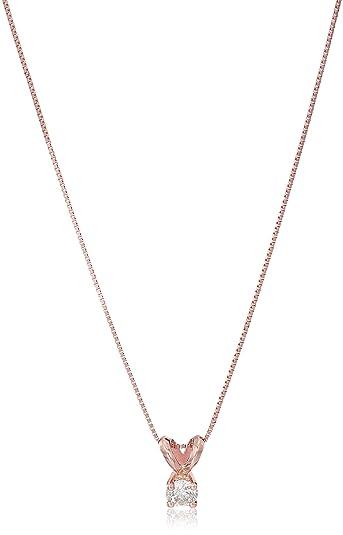 Amazon 14k rose gold diamond solitaire pendant necklace 18 14k rose gold diamond solitaire pendant necklace 18quot mozeypictures Image collections