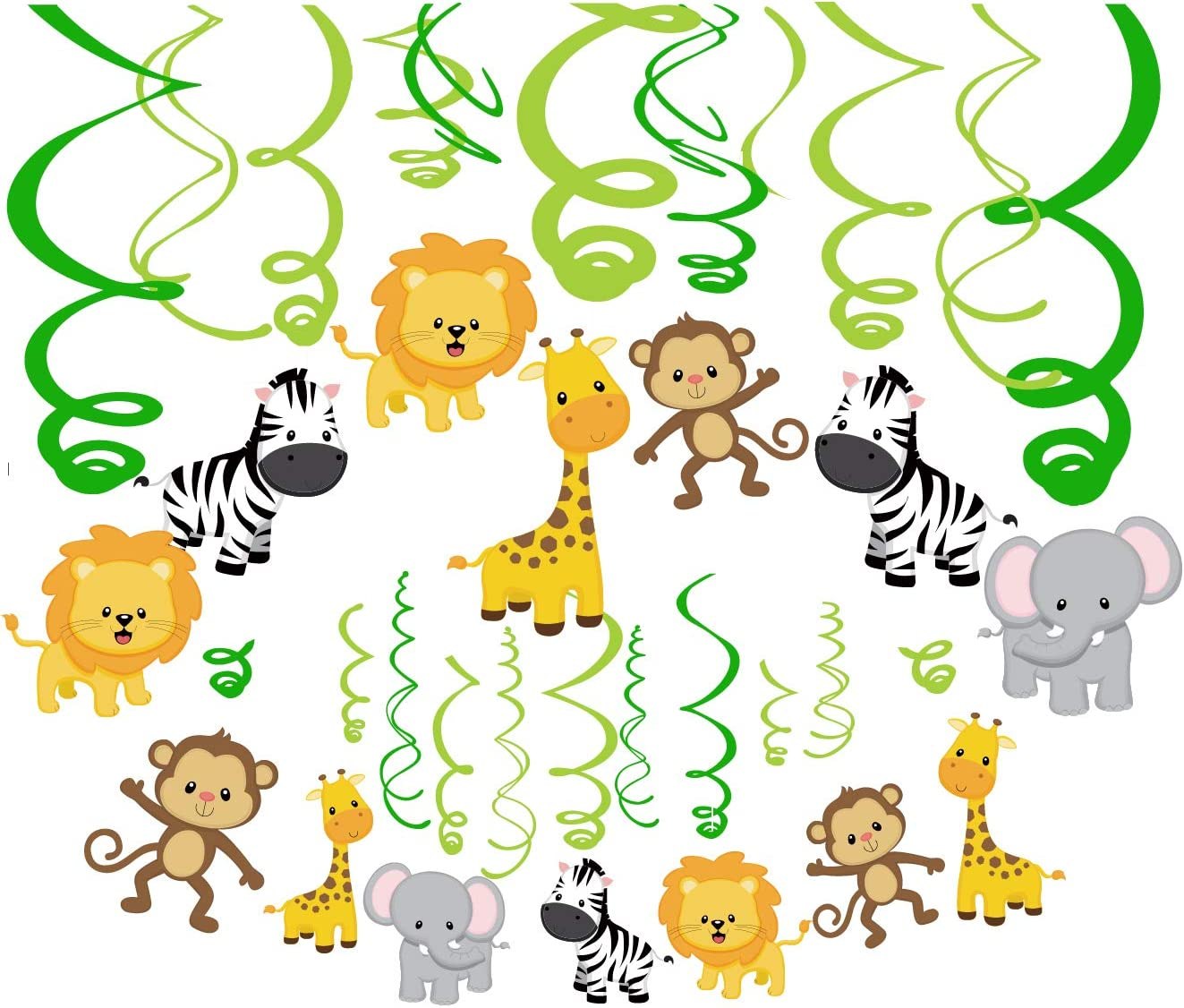 CC HOME Jungle Animal Party Decoration ,Wild One First Birthday Hanging Swirl Decoration Kit, 1st Boy Girl Jungle Theme Baby Shower Decorations Jungle Bday Party Hanging Decoration Set for Safari Party ,Zoo Animal, Forest Friend Creatures Party Decoration Supplies