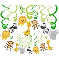 CC HOME Jungle Animal Party Decoration,Jungle First Birthday Hanging Swirl Decoration Kit, 1st Boy Girl Jungle Theme Baby Shower Decorations Jungle Bday Party Hanging Decoration Set