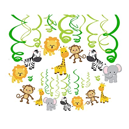 CC HOME Jungle Animal Party Decoration Wild One First Birthday Hanging Swirl Kit