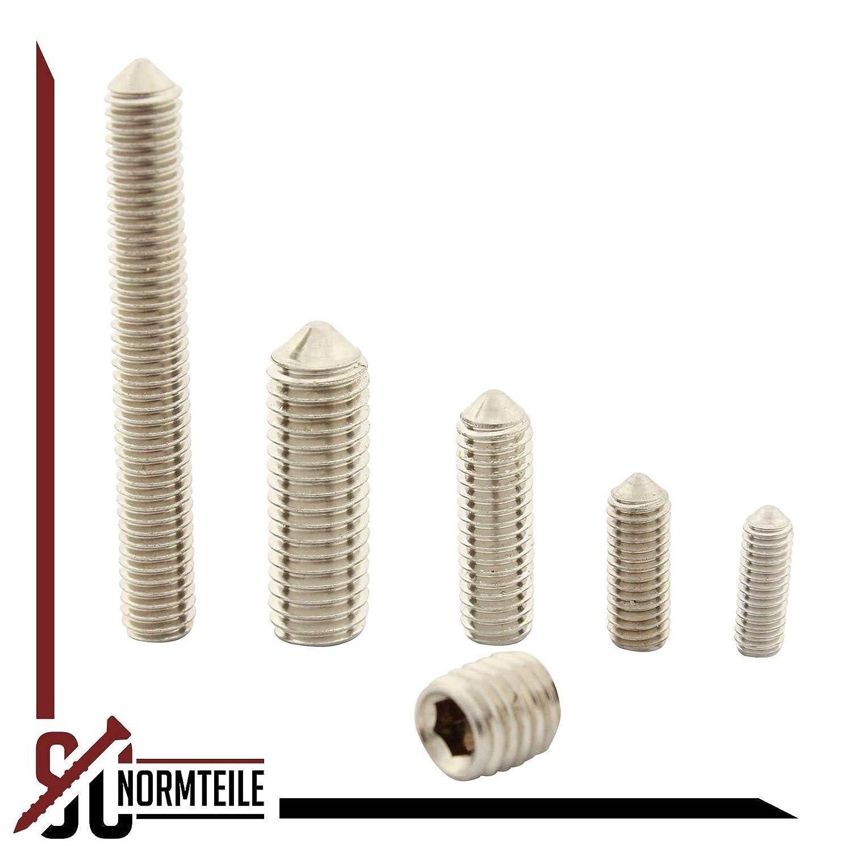 ISO 4027 Gewindestifte mit Innensechskant und Spitze 100 St/ück - aus rostfreiem Edelstahl A2 DIN 914 SC-Normteile - SC914 V2A - Madenschrauben M4x12 -
