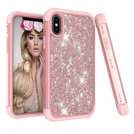 Für iPhone XS Hülle , 2018 Glitzer Handytasche Mädchen Glitter Sparkle Bling Strass Hart PC Hardcase Bumper Cover for iPhone