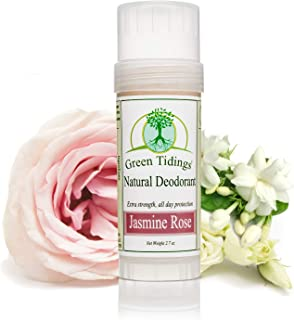 product image for Green Tidings Natural Jasmine Rose Deodorant, Vegan, Organic Deodorant for Men and Women, Fragrance Free & Aluminum Free Deodorant, Underarm Antiperspirant 2.7 Oz 1 Pack