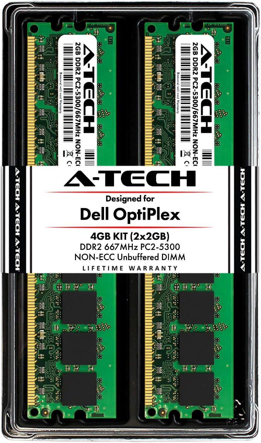 A-Tech 4GB (2X 2GB) Memory RAM Kit for Dell OptiPlex 755, 745, 740, GX620, GX520, 360, 330, 160, FX160, (MT, DT, SFF, USFF) - DDR2 667MHz PC2-5300 Non-ECC DIMM Modules