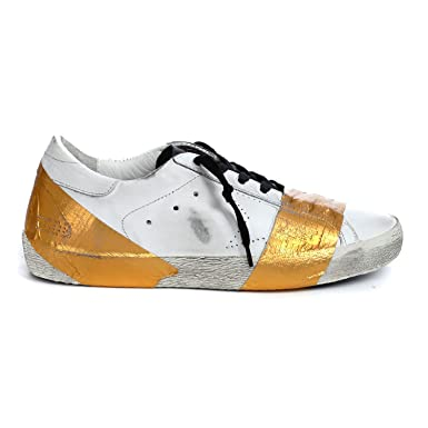 Golden Goose - Mens Sneakers Superstar 2017, White Leather Skate/Gold Scotch, 7
