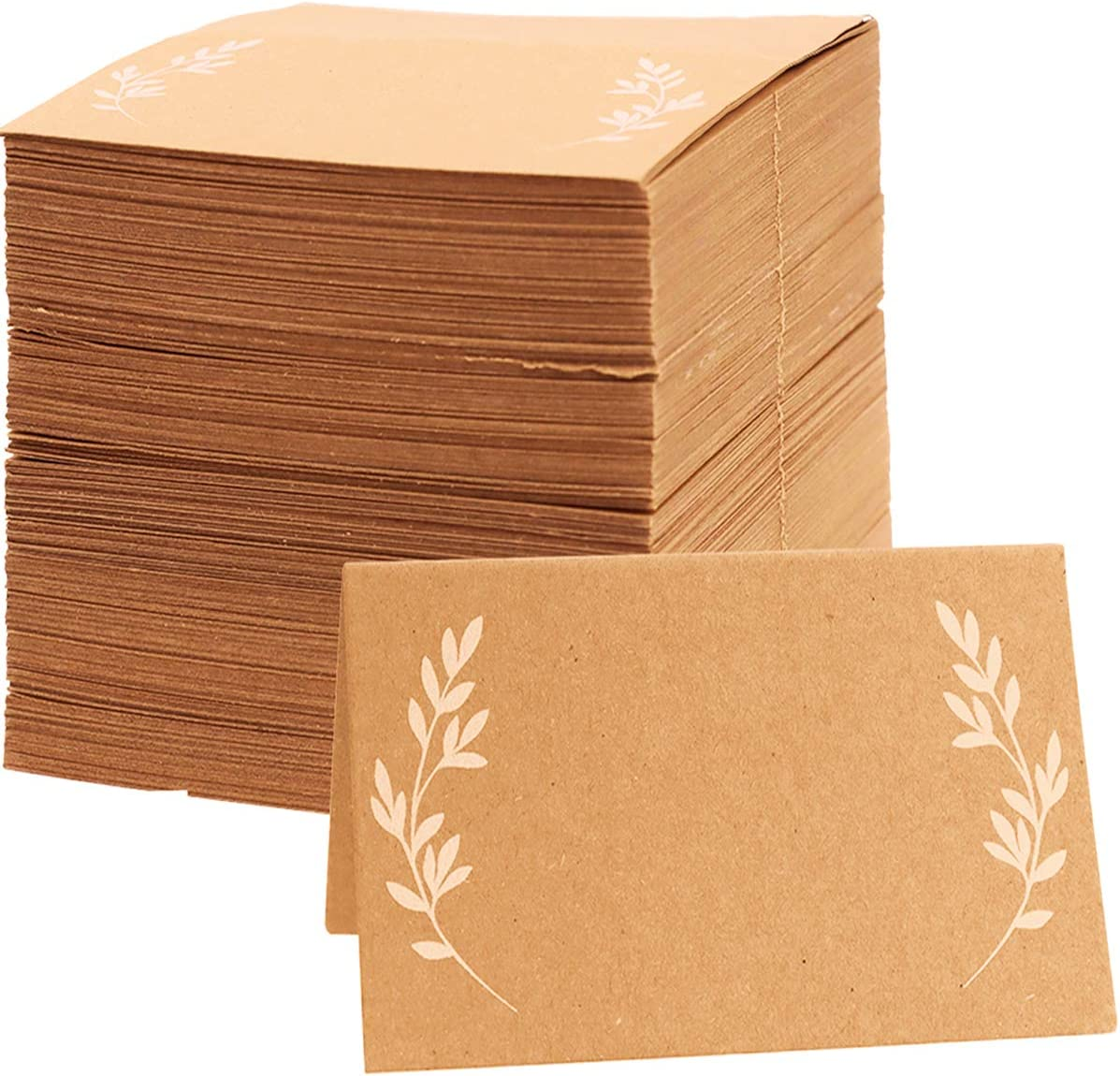 MotBach 150 Pcs Place Cards,Rustic Place Cards,Kraft Tent Escort Cards with White Leaves,for Name, Table Seating, Table Number,for Wedding, Banquets, Party or Reception(Brown)