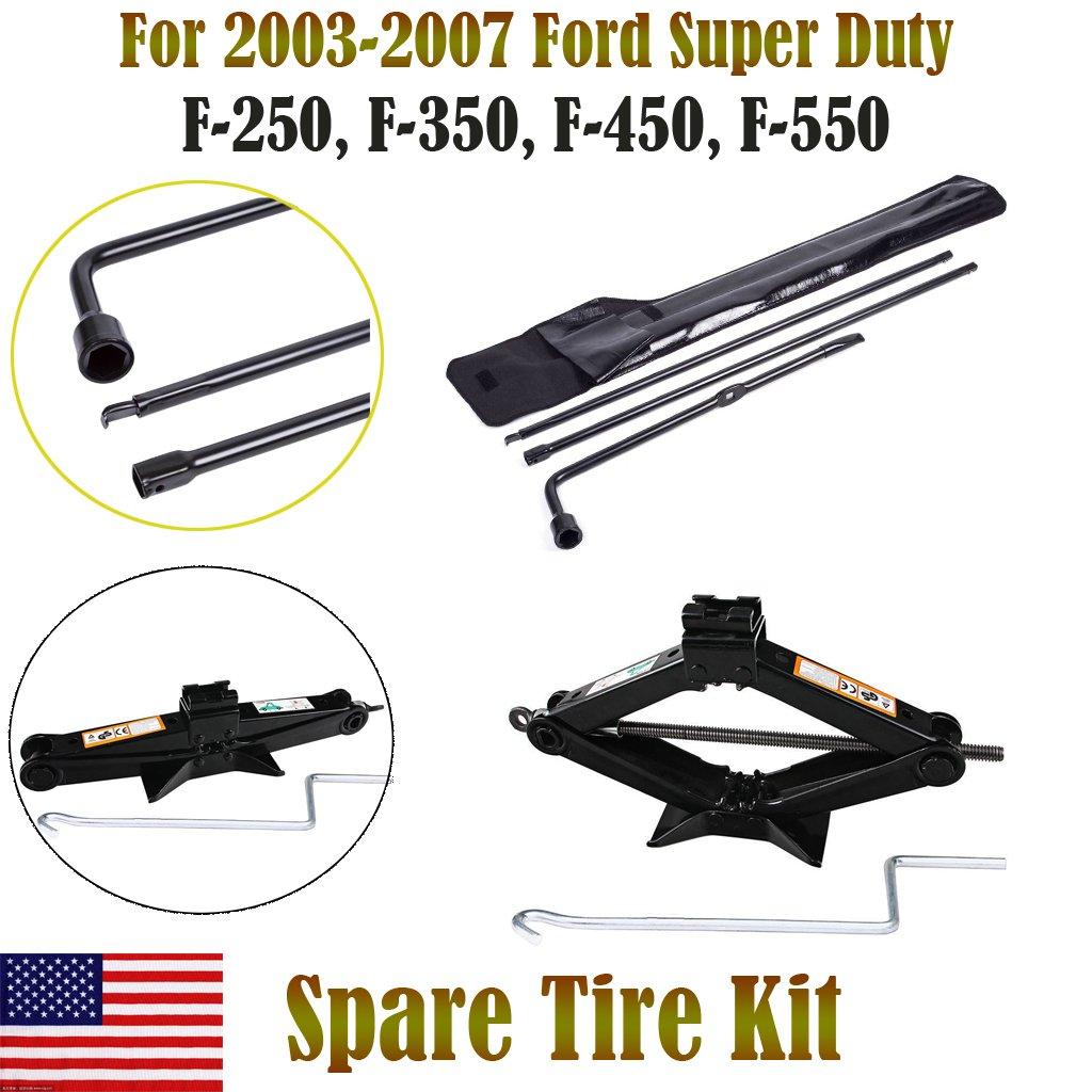Autobaba For 2003-2007 Ford Super Duty F250 F350 F450 F550 Spare Tire Tool Kit and 2 Ton Scissor Jack, 2 Year Warranty, US Stock by Autobaba