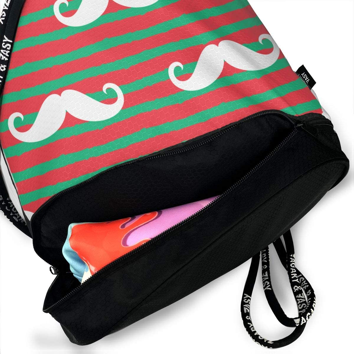 Drawstring Backpack Mustaches Stripes Red Green Bags