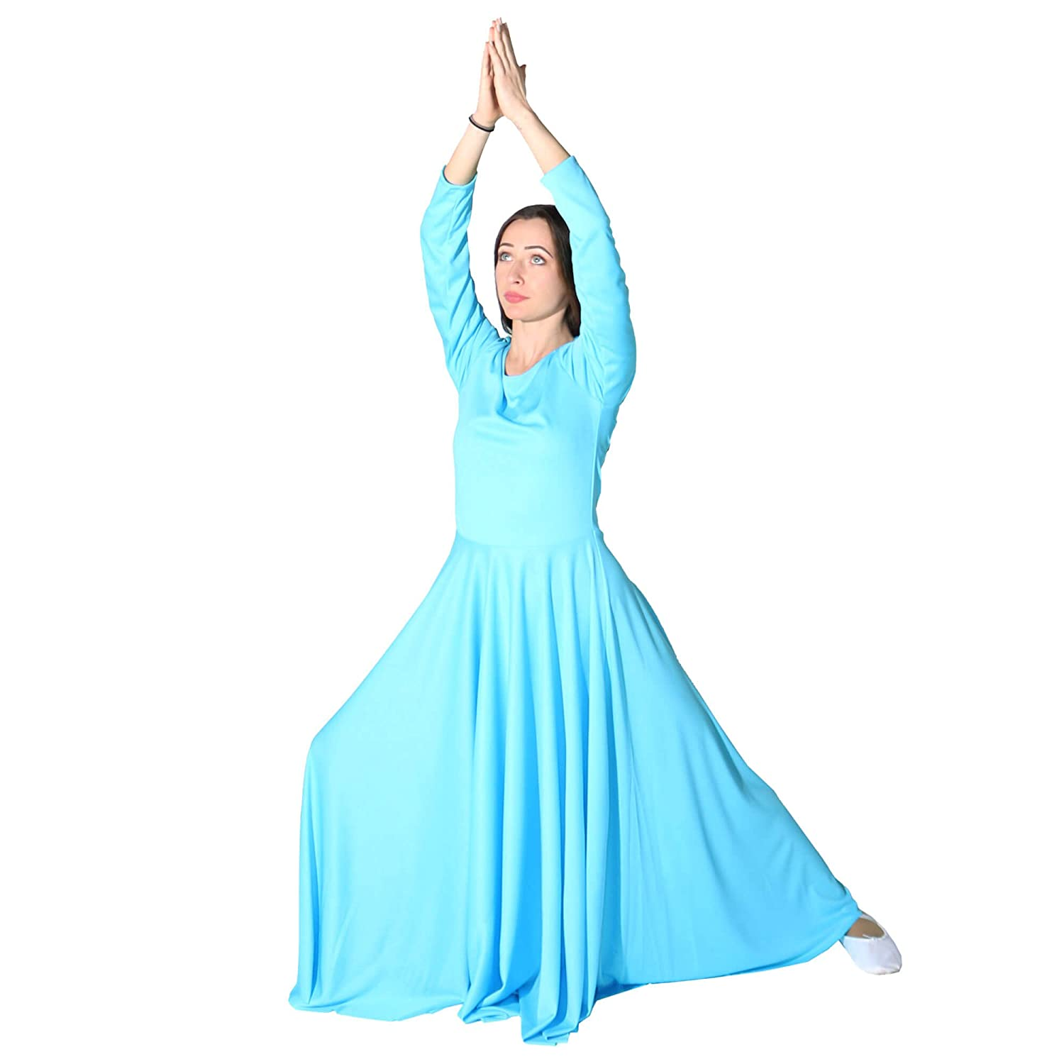 48ce7d6e49 Amazon.com: Danzcue Womens Praise Loose Fit Full Length Long Sleeve Dance  Dress: Clothing