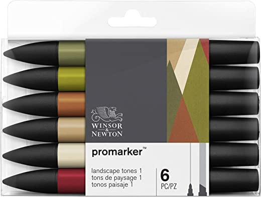 Set of 6 Neutral Tones Winsor /& Newton ProMarker