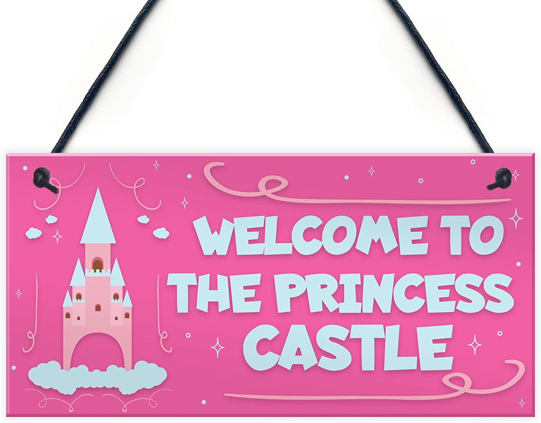 XLD Store Princess Castle Hanging Plaque Door Playroom Bedroom Sign Gift Baby Girls Fairytale Decor