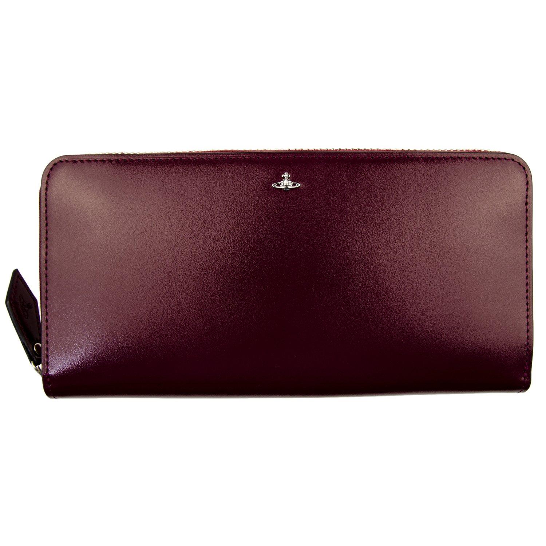 [名入れ可] (ヴィヴィアンウエストウッド) Vivienne Westwood SIMPLE TINY ORB レザー ラウンドファスナー 長財布 レディース 本革 財布 ロングウォレット B01N5OANAYパープル 名入れあり
