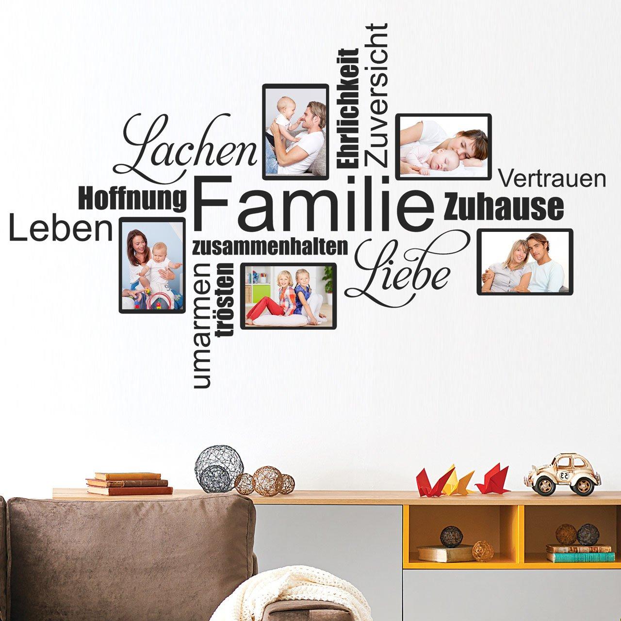 DESIGNSCAPE® DESIGNSCAPE® DESIGNSCAPE® Wandtattoo Fotorahmen Wortwolke Familie   Wandtattoo für Fotos mit Wortwolke 135 x 84 cm (Breite x Höhe) schwarz DW807376-L-F4 c410b5