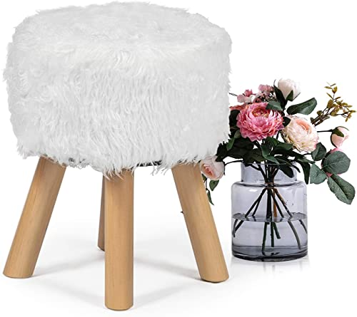 Homebeez Faux Fur Ottoman Foot Rest Stool, Round Decorative Bench with Wood Legs , Small, White Wool