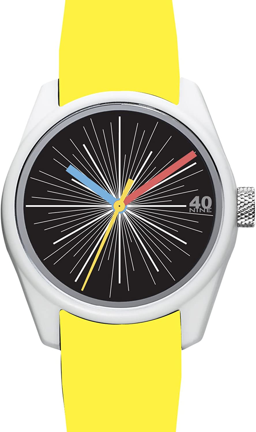 40Nine Men s Eclectic Japanese-Quartz Watch with Silicone Strap, Yellow, 21.35 Model 40N3.8Y