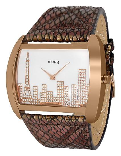 Moog Paris Skyline Reloj para Mujer con Esfera Nácar Blanca, Correa Negra y Oro Rosa de Piel Genuina y Cristales Swarovski - M41882-002: Amazon.es: Relojes