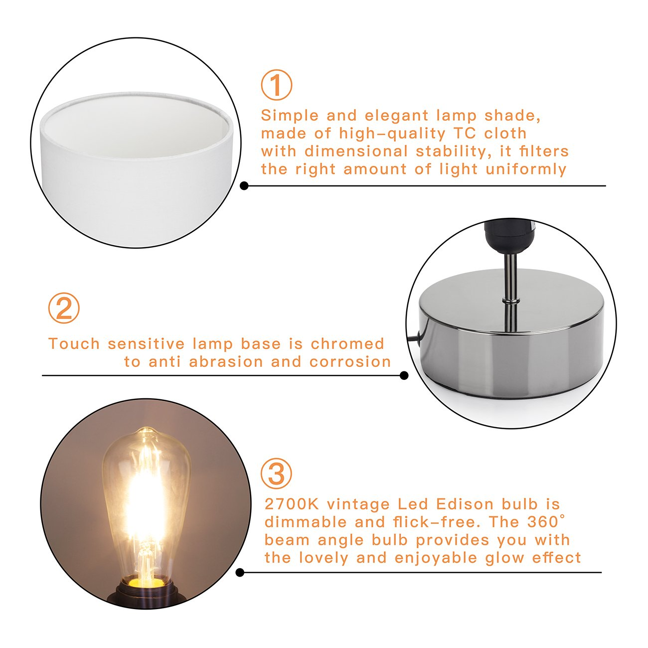 Touch Control Table Lamp Bedside Minimalist Desk Lamp Modern Accent Lamp Dimmable Touch Light with Cylinder Lamp Shade Night Light Nightstand Lamp for Bedroom Living Room Kitchen, E26 Bulb Included by Seaside village (Image #5)