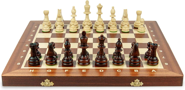 Chess da torneo Scacchiere Set Gioco da Viaggio Pieghevole per Adulti Bambini Staunton Amazinggirl Scacchiera in Legno Professionale Scacchi Grande 40 cm