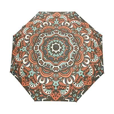 Windproof Auto Open Close Bohemian Geometric Style Compact Travel Umbrella