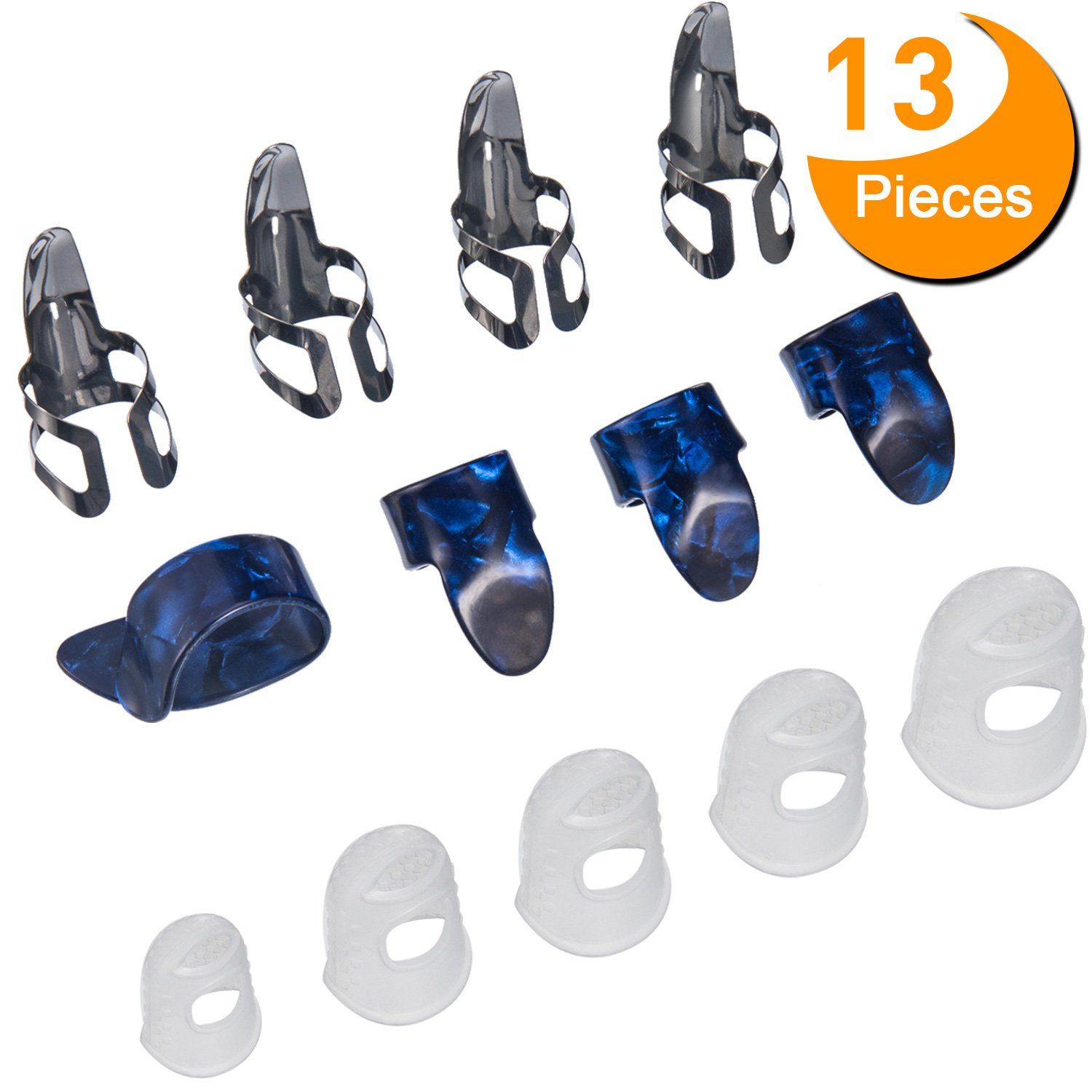 Guitar Starter Kit Includes 8 Pieces Guitar Thumb & Finger Picks (Metal and Blue Celluloid), 5 Pieces Clear Guitar Finger Protectors Canomo