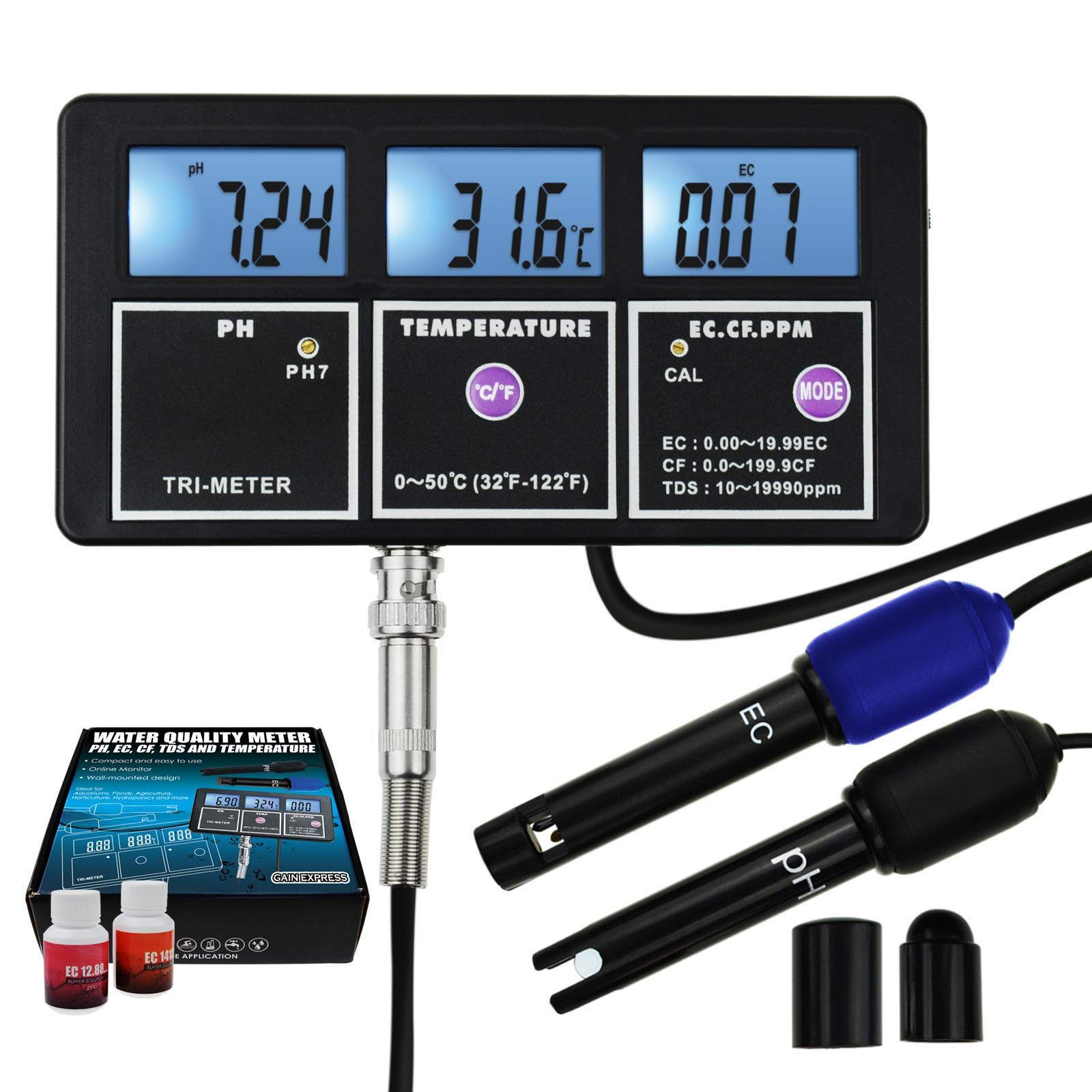 5-in-1 Water Quality Multi-Parameter PH EC CF TDS (ppm) Temperature Test Meter Backlight, Wall-mountable Rechargeable Continuous Monitor Tester, Aquariums Hydroponics Pool Fish Tank Pond Drinking by Gain Express