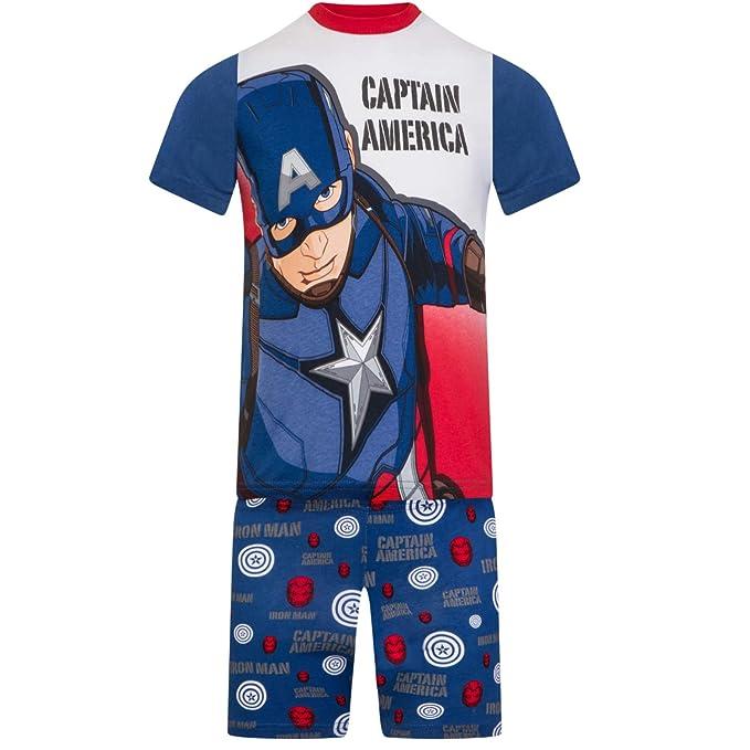 Marvel - Los Vengadores - Pijama con pantalón Corto y Camiseta de Manga Corta - para