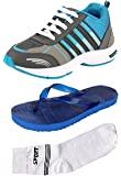 Maddy Aqua Grey Material Sports Shoes for Men in Various Sizes