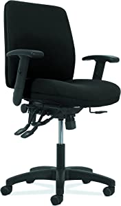 HON Network Mid-Back Task Chair - Asynchronous Computer Chair for Office Desk, Black Fabric (HVL282.A2)