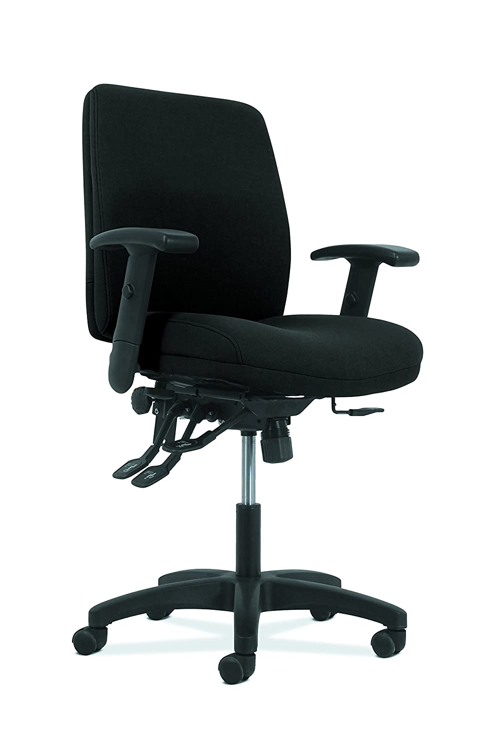 HON Network Mid-Back Task Chair – Asynchronous Computer Chair for Office Desk, Black Fabric HVL282.A2