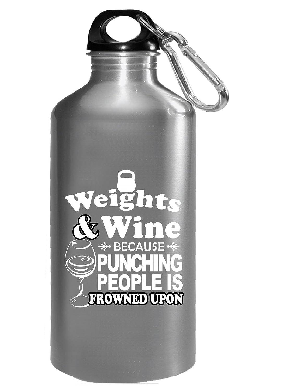 ウェイトとワインためPunching人はFrowned Upon – 水ボトル 16オンス シルバー B074HSXVNQ  シルバー 16オンス