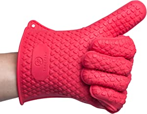 LONGFITE Silicone Cooking Glove - Heat Resistant Oven Mitt for Grilling, BBQ, Kitchen - Safe Handling of Pots and Pans (Red)