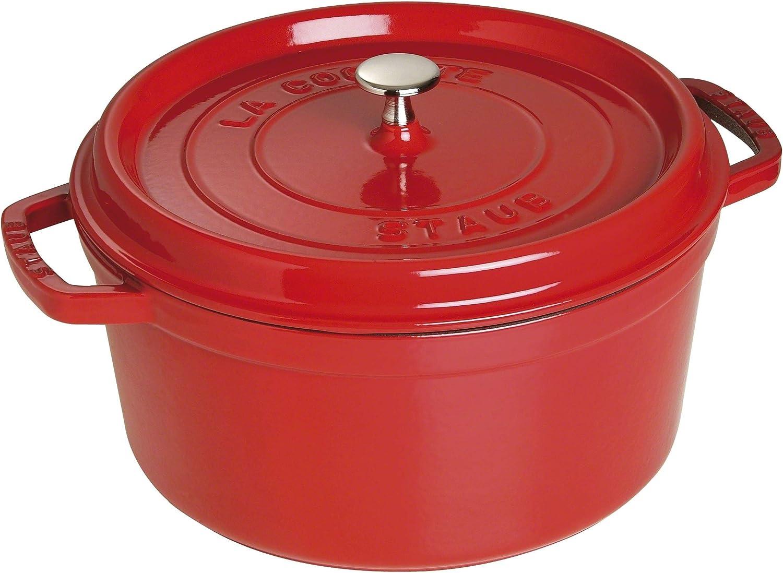 Staub - Olla Cocotte redonda, hierro fundido, rojo cereza, 28 cm