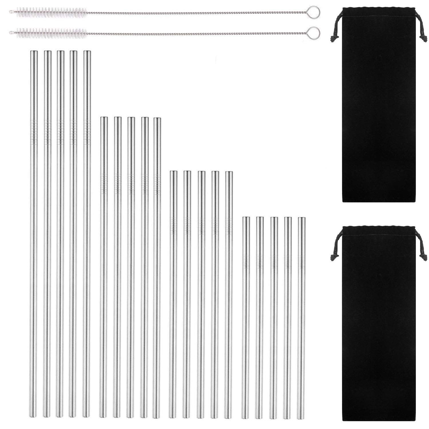 Reusable Stainless Steel Drinking Straws, 20 Pcs 4 Size - 6.3'' 7.1'' 8.5'' 10.5'', BPA Free Long Short Smoothie Drinking Straight Straws With 2 Brushes and 2 Carry bag, Fit for 20/30 oz Tumblers by BGMAXimum