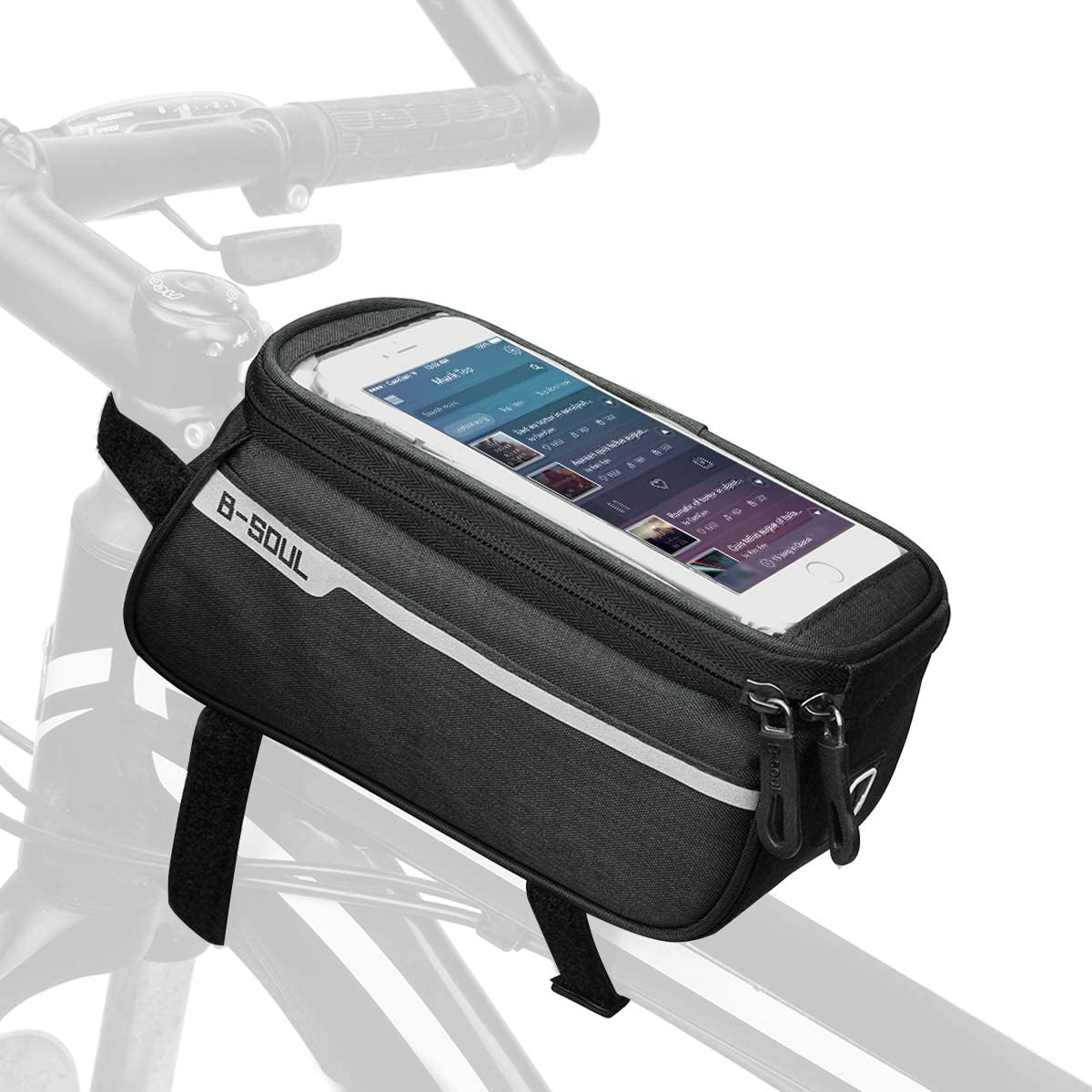 Go-Light Waterproof Bike Phone Front Frame Bag iPhone 11 Pro Max X XR 8 7 Plus,Top Tube Cycling Phone Case with Touch Screen for Android/iPhone Cellphones Below 6.5""