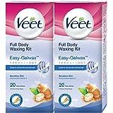 Veet Full Body Waxing Kit for Sensitive Skin - 20 Strips (Pack of 2)