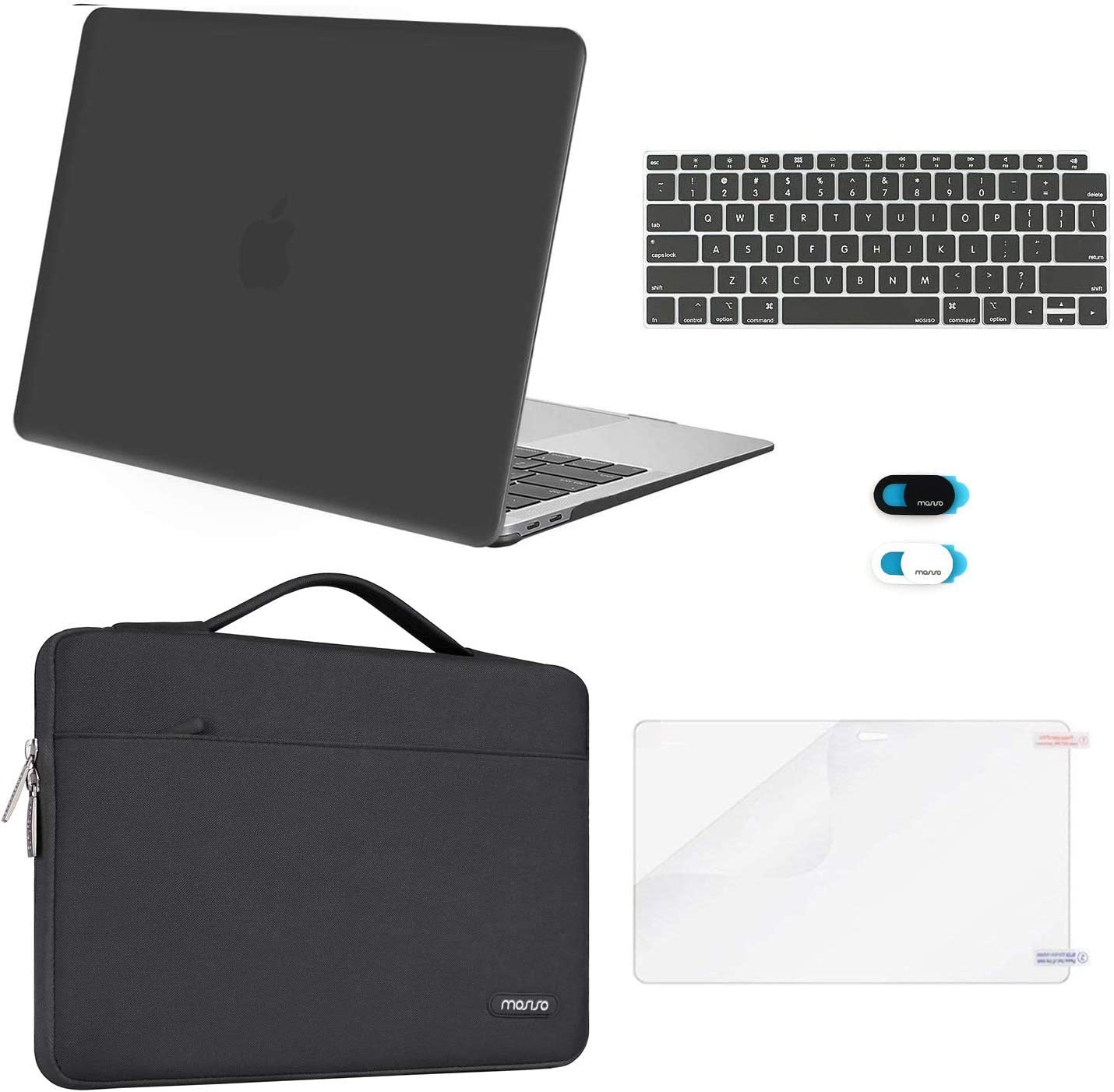 MOSISO MacBook Air 13 inch Case 2020 2019 2018 Release A2179 A1932, Plastic Hard Shell&Sleeve Bag&Keyboard Cover&Webcam Cover&Screen Protector Compatible with MacBook Air 13 inch Retina, Space Gray