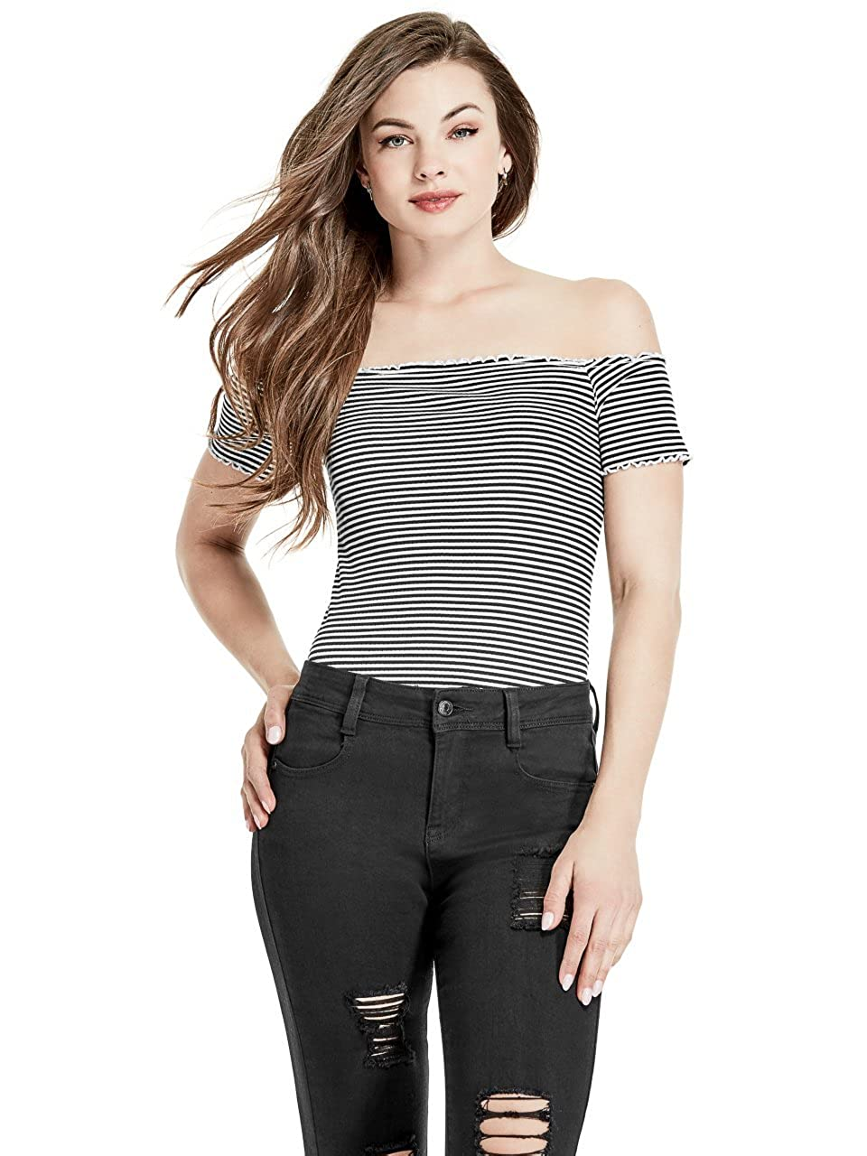288ce565bb69 Amazon.com  G by GUESS Kendra Off-The-Shoulder Rib- Knit Ruffled Trip  Stripe Top  Clothing