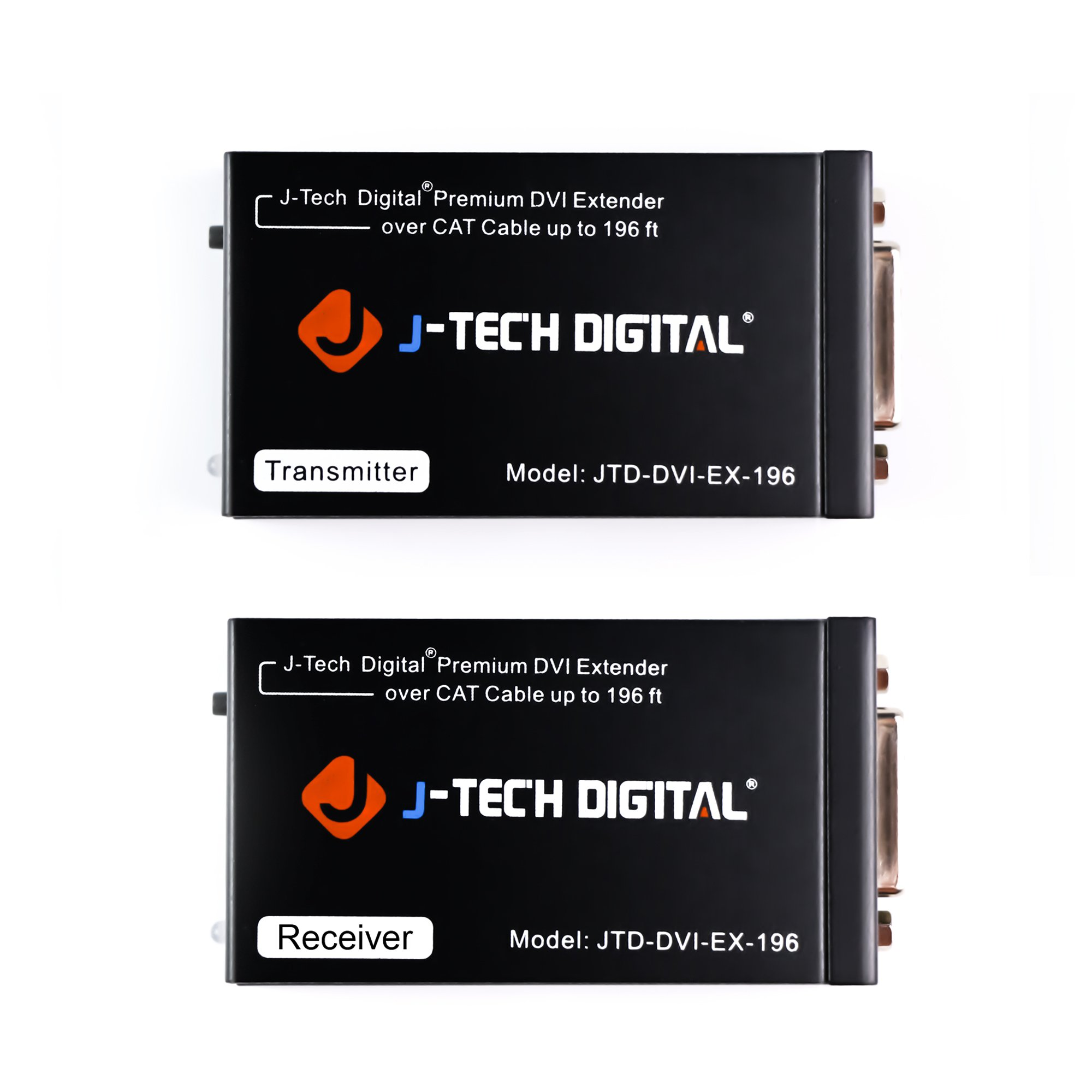 J-Tech Digital ProAV Premium Quality DVI Extender/DVI Amplifier/DVI Splitter Over CAT 5 / CAT 5E / CAT 6 Ethernet Cable